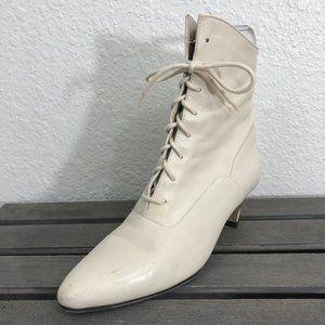 Vintage Nine West Granny Boots Sz 6.5 Ivory